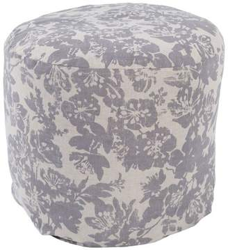Surya Clara Contemporary Linen and Cotton Cube Pouf, Gray