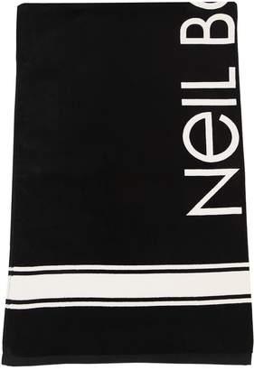 Neil Barrett Logo Print Cotton Beach Towel