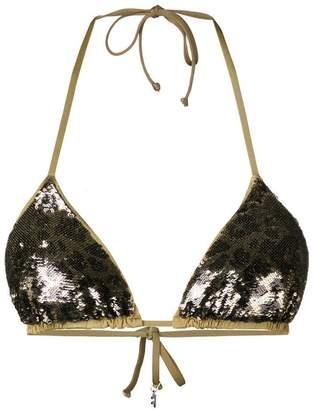 Fisico leopard sequin bikini top