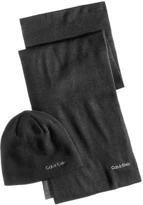Calvin Klein Men's Reversible Hat & Scarf Set