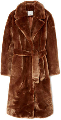 Tibi Luxe Faux-Fur Oversized Trench Coat