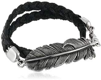King Baby Studio Raven Feather Double Wrap Leather Bracelet