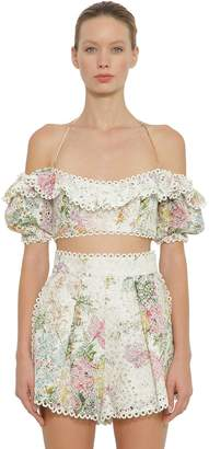 Zimmermann Heathers Printed Off The Shoulder Top