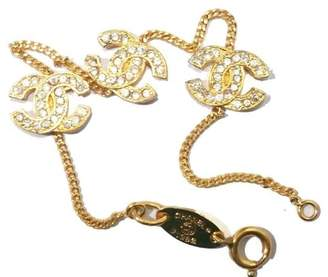 Chanel 18K Yellow Gold-Tone CC Crystal Bracelet