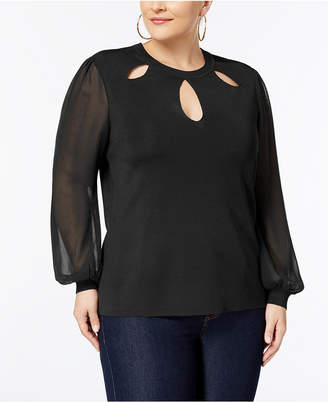 INC International Concepts I.n.c. Plus Size Bishop-Sleeve Cutout Sweater, Created for Macy's