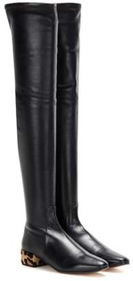 Francesco Russo Calf hair-trimmed leather over-the-knee boots