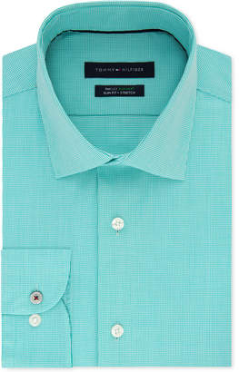 Tommy Hilfiger Men Slim-Fit Non-Iron Performance Stretch Check Dress Shirt