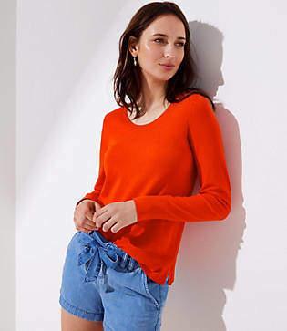 LOFT Petite Refined Scoop Neck Sweater