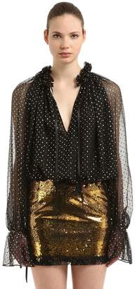 Ruffled Polka Dot Silk Crepe Blouse
