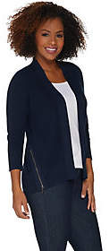 Halston H by Open Front 3/4-Sleeve Cardigan w/Forward Zippers