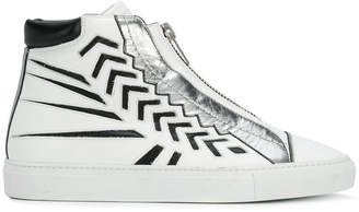 Just Cavalli laser cut detail high top sneakers
