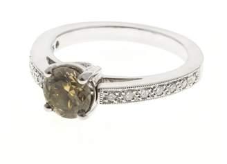 Platinum Natural Brown Green Yellow Diamond Engagement Ring Size 6.5