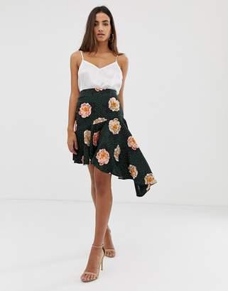 Love floral asymmetric skirt