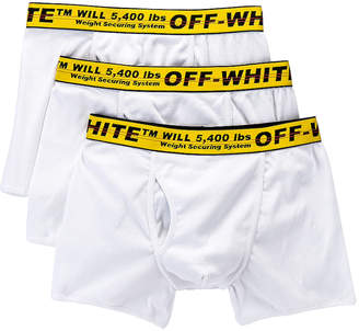 Off-White Off White Tripack Boxer Shorts in White & Yellow | FWRD