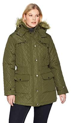 The Plus Project Women's Winter Warm Diamond Down Fur Hood Plus Size Long Quilted Jacket Coat with Pockets 3X-Large