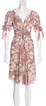 Bottega Veneta Silk Print Midi Dress