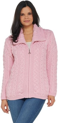Aran Craft Merino Wool Zip Front Cardigan