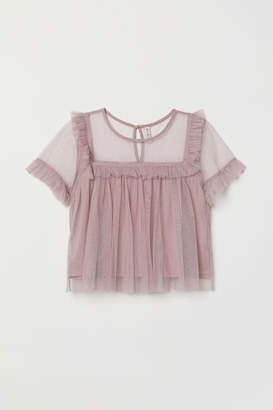 H&M Ruffle-trimmed Mesh Top - Pink