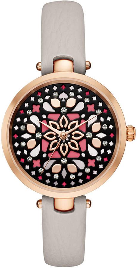 Kate Spadekate spade new york Women's Holland Clocktower Gray Leather Strap Watch 34mm KSW1260