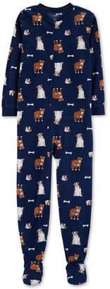 Carter's Carter Little & Big Boys Dog-Print Footed Fleece Pajamas