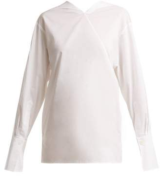 Joseph Elsie Asymmetric Neck Cotton Shirt - Womens - White