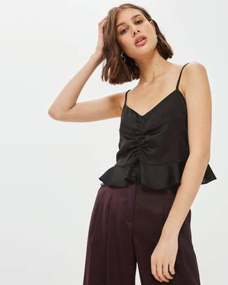 Topshop Satin Ruched Cami