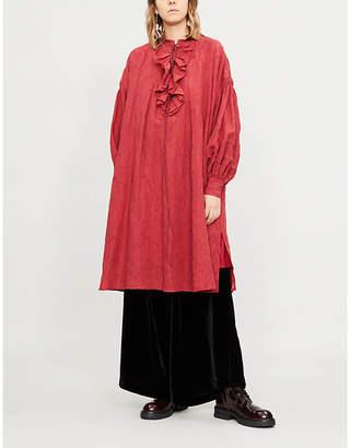RENLI SU Ruffle-neck cotton-linen dress