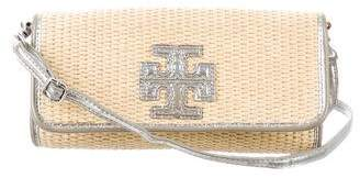Tory Burch Leather-Trimmed Woven Crossbody Bag