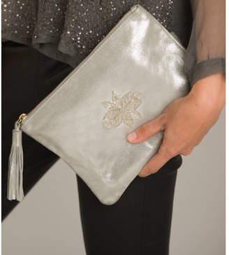 Aspiga Silver Star Leather Clutch Bag
