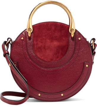 Chloé Pixie Textured-leather And Suede Shoulder Bag - Burgundy