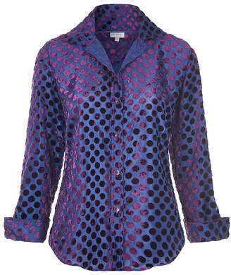 At Last... - Karen Silk Velvet Shirt Purple Spot