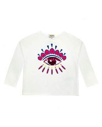 Kenzo Long-Sleeve Flip Sequin Eye T-Shirt, Size 4-6