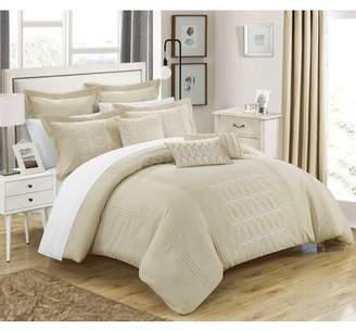 BEIGE Chic Home 12-Piece Tussard NEW FAUX LINEN FABRIC COLLECTION OVERSIZED AND OVERFILLED embroidered GEOMETRIC pleated ruffled color block Queen Bed In a Bag Comforter Set With White Sheets included