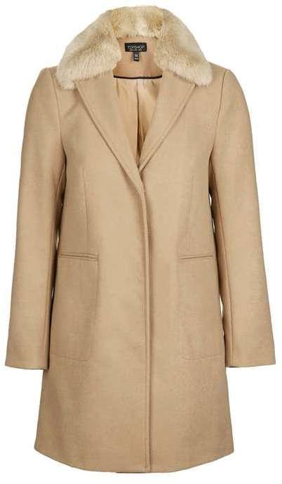 TopshopTopshop Fur collar boyfriend coat