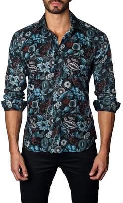 Jared Lang Trim Fit Black Garden Print Sport Shirt