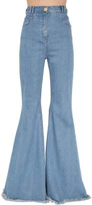 Balmain High Waisted Flared Cotton Denim Pants
