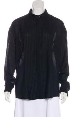 Anthony Vaccarello Virgin Wool Pleat-Accented Top