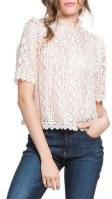 Plenty by Tracy Reese Scallop Trim Lace Blouse