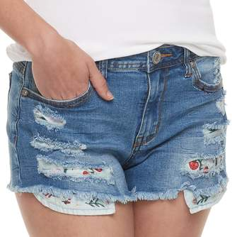 Almost Famous Juniors' Distressed Ripped Jean Shorts