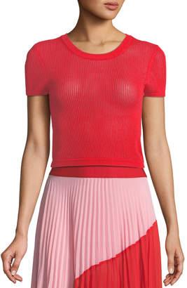 Alice + Olivia Ciara Textured Pullover Crop Top