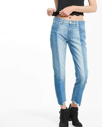 Express Mid Rise Raw Hem Pieced Original Girlfriend Jeans
