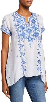 Johnny Was Azure Embroidered Short-Sleeve Boho Linen Top