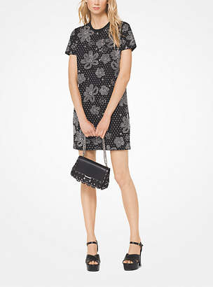 Michael Kors Floral Studded Scuba-Crepe Dress