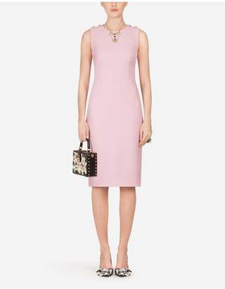 Dolce & Gabbana Double Crepe Midi Dress With Decorative Buttons
