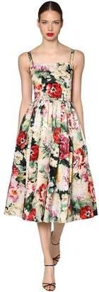Dolce & Gabbana Floral Printed Satin Organza Dress