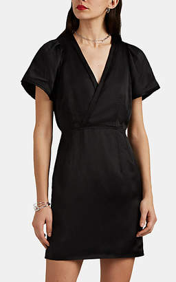 Derek Lam 10 Crosby Women's Frayed-Edge Washed Satin Sheath Dress - Black