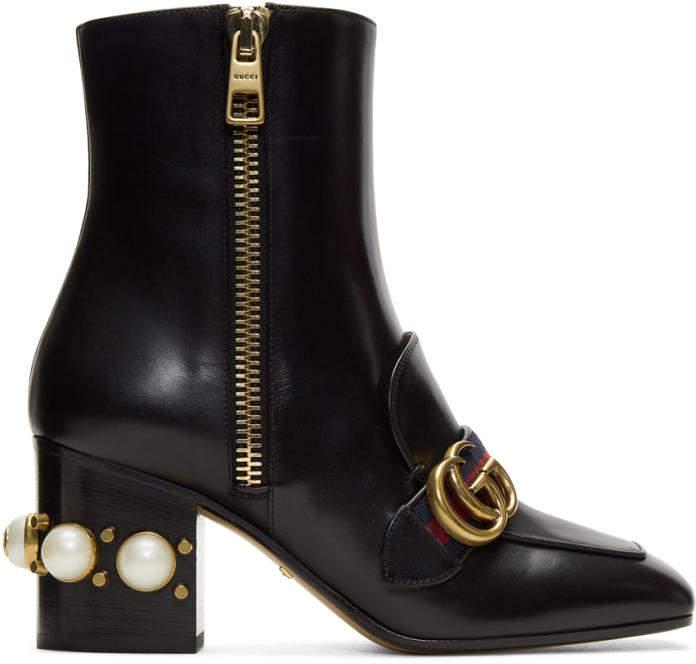 Gucci Black Pearl and Stud Peyton Boots
