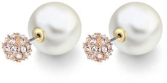 Crystal Pearl Chic Lotus 5 COLORS Double Side Stud Ball Earrings