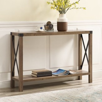 "Manor Park 46"" Urban Industrial Farmhouse Metal X Entry Table - Rustic Oak"