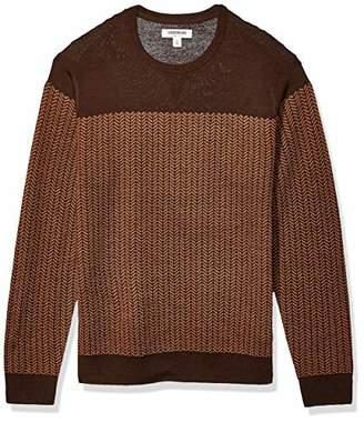 Goodthreads Amazon Brand Men's Merino Wool Crewneck Herrinbone Sweater